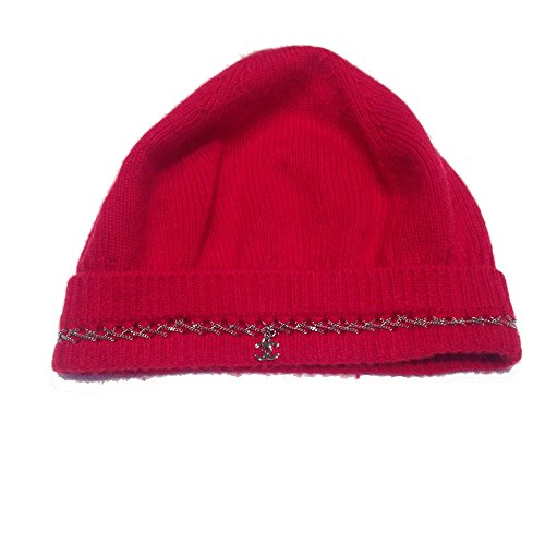 Chanel Cashmere Red Cap with Chain detail and CC Logo by CHANEL