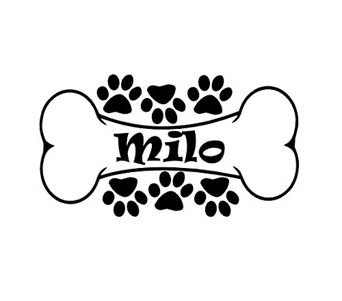 Personalized (R13) Name Dog Bone Vinyl Decal Sticker (Dog Vinyl Decal)