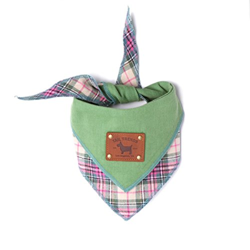 Tail Trends Floral Green Corduroy Reversible Dog Bandanas with Leather Patch for Medium to Large Sized Dogs - 100% Cotton by Tail Trends