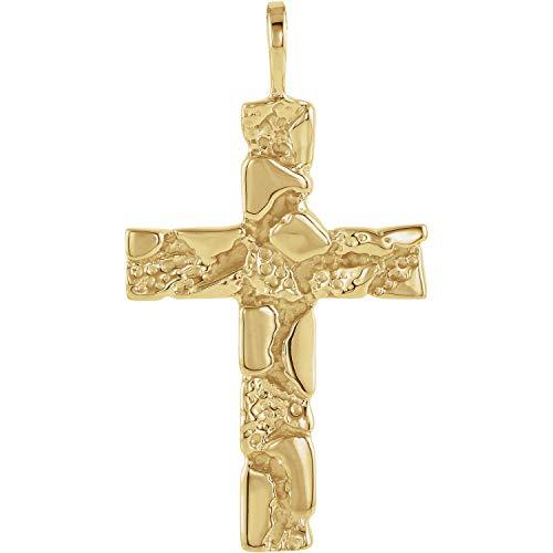 14K Yellow Gold Nugget Cross Pendant -