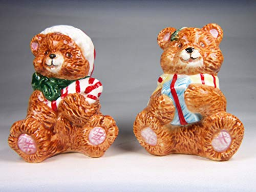 (Fine Ceramic Christmas Teddy Bear Holding Candy Cane and Present Salt & Pepper Shakers Set, 3