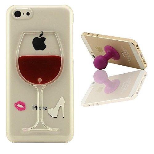 Transparent Coque Case Cover pour iPhone 5C + Silicone Patte de Support, Joli Charmant Mini Cristal Vin Tasse, Coulant Liquide Eau Rigide Dur Mince Poids Léger étui de protection