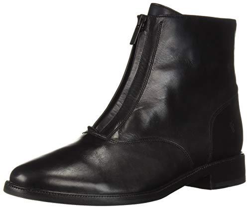 (FRYE Women's Kelly Front Zip Bootie Ankle Boot, Black, 6.5 M US)