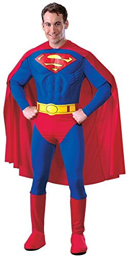 [UHC Men's Superman Adult Muscle Marvel Theme Party Deluxe Halloween Costume, S (36-38)] (Plus Size Deluxe Superman Costumes)