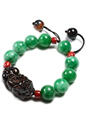 Gorgeous Feng Shui Fortune Obsidian Pi Shou Tiger with Green Jade Beaded Amulet Bracelet - Fortune Feng Shui Jewelry