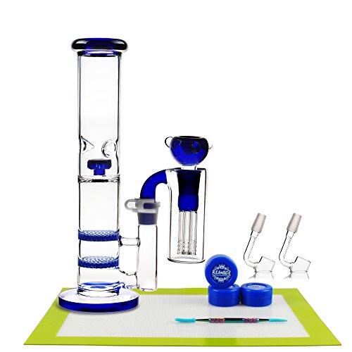 420BongGift (MOON D) Glass 18.8mm Height 27cm Blue Water HandMade Recycler