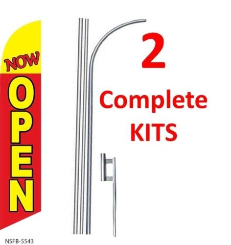 2 (two) NOW OPEN red/yel 15' SWOOPER #3 FEATHER FLAGS KIT with poles+spikes by FlagPad