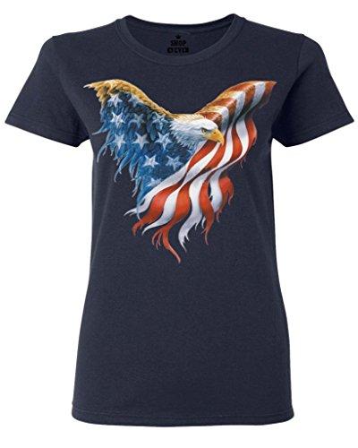 Shop4Ever® Eagle USA Flag Women's T-Shirt 4th of July Shirts