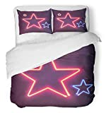 Emvency 3 Piece Duvet Cover Set Breathable Brushed Microfiber Fabric Pink Light Two Shining Neon Stars Bright Colorful Sign Board for Your Design Blue Bedding with 2 Pillow Covers Full/Queen Size