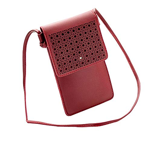 ZOMUSAR Laser Engraved Series Small Crossbody Bag Cell Phone Purse Wallet For Women (Red)