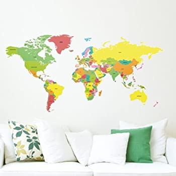 Amazon popdecors educational world map 98 inch for kids room labelled large world map vinyl adhesive wall sticker wall clings tattoos graphics sciox Gallery