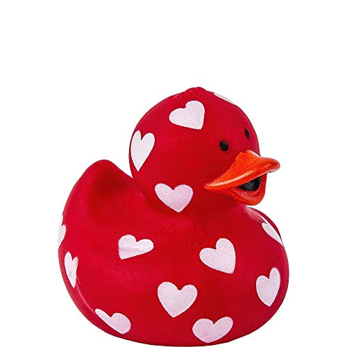 Amscan 390466 Valentine Rubber Duck, 1 1/2 x 1 3/4 inches, Red and White