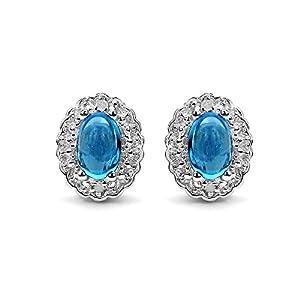 Johareez 1.10 cts Swiss Blue Topaz & White Topaz .925 Sterling Silver Rhodium Plated Earrings for Women