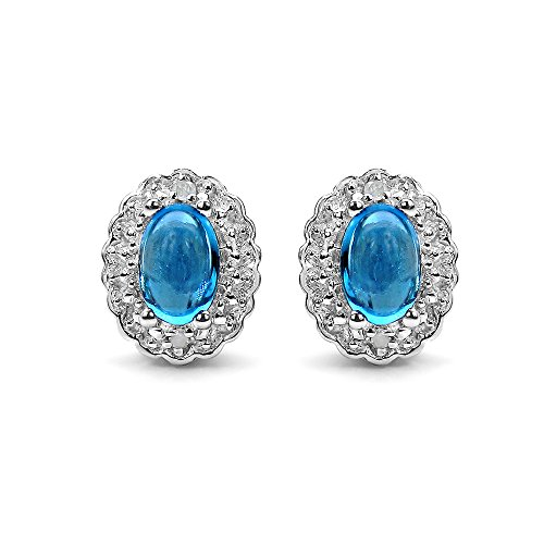 1.30 Carat Genuine Swiss Blue Topaz & White Topaz .925 Sterling Silver Earrings