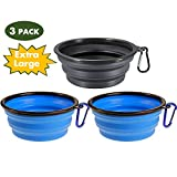 Popetz Collapsible Pet Bowl, Portable Dog Travel Bowls, Food Grade Silicone, for Medium and Large Dogs and Cats (Extra Large 34 oz, 3pcs 2Blue & Black)
