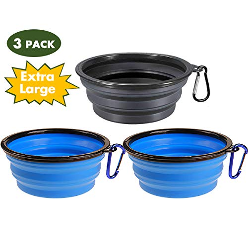 Popetz Collapsible Pet Bowl, Portable Dog Travel Bowls, Food Grade Silicone, for Medium and Large Dogs and Cats (Extra Large 34 oz, 3pcs 2Blue & Black) by Popetz