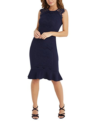 Vorn Kleid Bodycon Und Blau Damen Mit Spitze Glockensaum Lipsy AwpnCqX5E