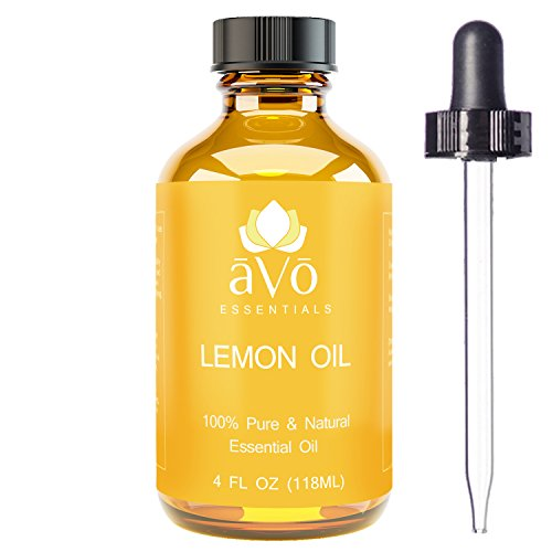 aVo Essentials Lemon Essential Oil for Aromatherapy with Glass Dropper, 4 oz