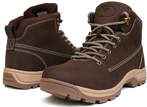 WHITIN Men's Mid Soft Toe Leather Insulated Work Boots Construction Rubber Sole Roofing Waterproof for Outdoor Hiking Winter Snow Casual Fashion Carolina Motorcycle Justin Industrial Brown Size - Mens Insulated Rubber