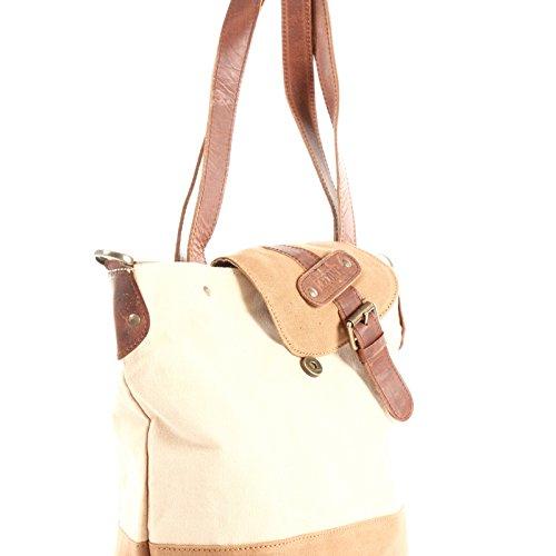 shopping pour sac en cuir look pour LE0053 Sac à main de cognac et C dames LECONI 38x35x11cm Large beige à toile Sac bandoulière dames Vintage Yzxza8q