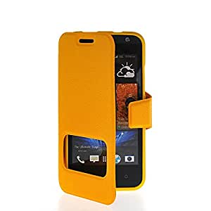 CASEPRADISE Slim Side Flip Leather Etui Stand Back Case Cover For HTC Desire 300 Yellow