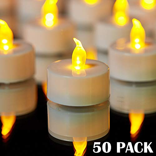 YIWER Tea Lights, LED Tea Light Candles 100 Hours Pack of 50 Realistic Flickering Bulb Battery Operated Tea Lights for Seasonal  Festival Celebration Electric Fake Candle in Warm Yellow best to buy