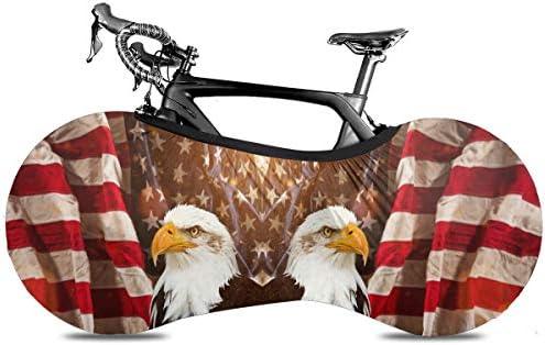 アメリカの国旗を持つ北アメリカ白頭ワシ Zone自転車屋内収納カバー ホイールパンツチェーンガレージ 屋内アンチダストマウンテンバイク収納バッグ 大人の自転車 自転車収納カバー 屋内マウンテンバイクカバー