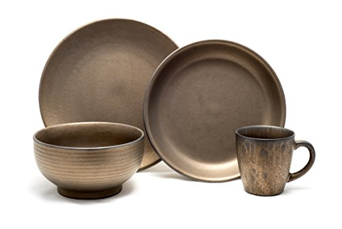 Tablescapes ME52957-16PC 16 Piece Teton Dinnerware Set, Rubbed Gold