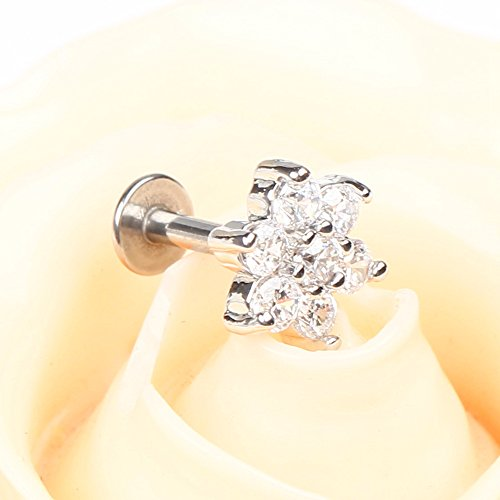BODYA 1pc Silver Plated 16G 7mm Cubic Zirconia flower Lip Rings Labret Nose Studs Helix Round Shape Stud Earring Body Piercing Jewelry Photo #2