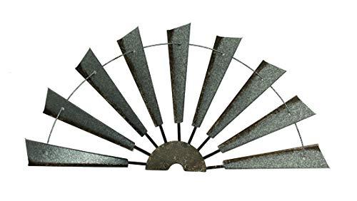 Zeckos Distressed Galvanized Finish Windmill Half Metal Wall Hanging 36 Inch