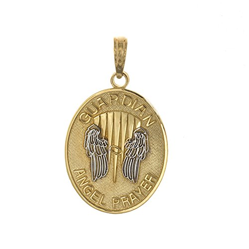 14k Yellow Figurine (14k Two-tone Gold Religious Charm Pendant, Guardian Angel Prayer with Angel Wings)
