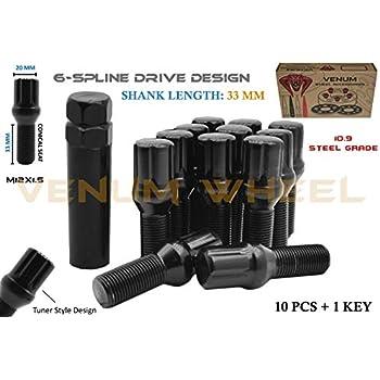 10 Pc Set Of Black Spline Conical Tuner Lug Bolts 12x1.5 33mm Shank 1 Socket