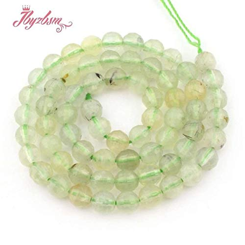 Calvas 4 6 8 10mm Round Bead Faceted Green Prehnites Natural Stone Beads for DIY Necklace Bracelat Jewelry Making 15