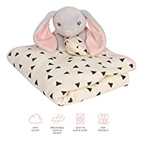 """Humble Bebe Large Lovey Security Blanket with Soft Plush Stuffed Animal Bunny. 30""""x30"""" Pink Trim. Ideal Baby Shower Gift for Newborns, Infants, Toddlers."""