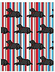 Marc Tetro - Gift Wrap Set - Black Lab on Stripes