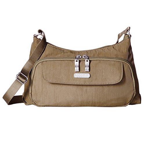 Body Bagg Purse Cross (Baggallini Handbag Crinkle Shoulder Purse (Portobello))