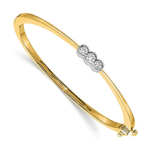 Jewelry Adviser Bangle Bracelets 14k Two-tone AAA Diamond bangle Diamond quality AAA (SI2 clarity, G-I color)