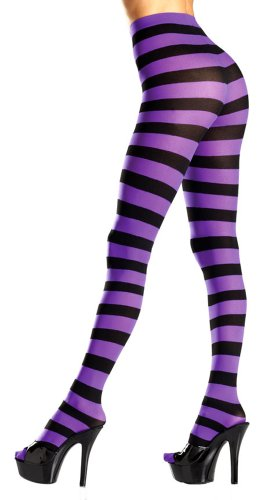 Costume Adventure Women's Black and Purple Striped Witch Pantyhose Tights (Wicked Witch Socks)
