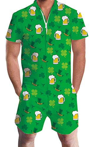 St. Patrick's Day Holiday Celebration Shirt Big Boy Men's Green Pant Male Romper Summer Party Bro Jumpsuit Large