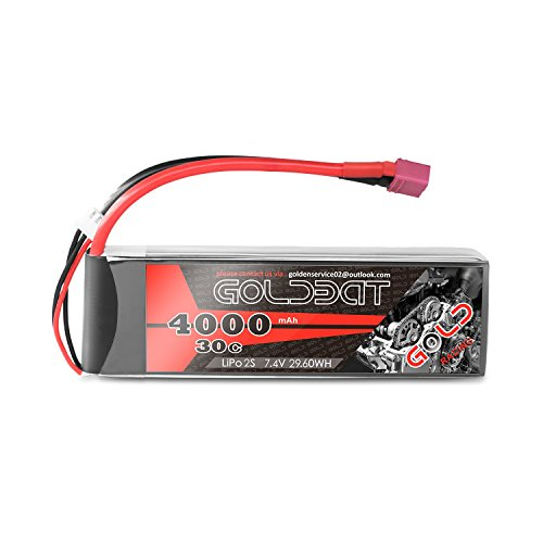 GOLDBAT 2S 7.4V 4000mAh 30C Lipo Battery Pack with Dean-Style T Connector for RC Truggy RC Airplane UAV Drone FPV RC Car RC Truck RC Boat RC Hobby