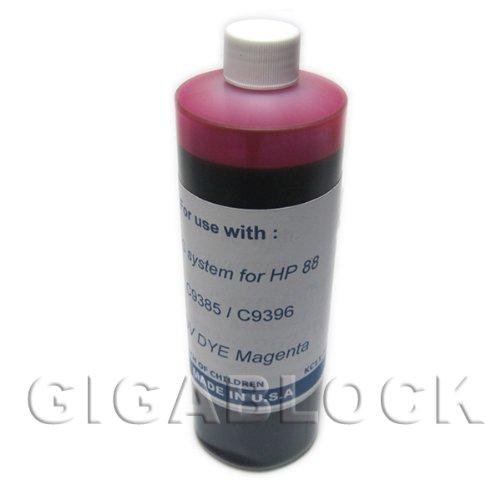 Gigablock UV(Ultra Violet) Resistant Dye Based Bulk Pint(470ml) Magenta Refill Ink for CIS System HP Officejet Pro K550, K5400, K8600, L7000, L7380, L7400, L7480, L7555, L7580, L7680, L7780 - Made -