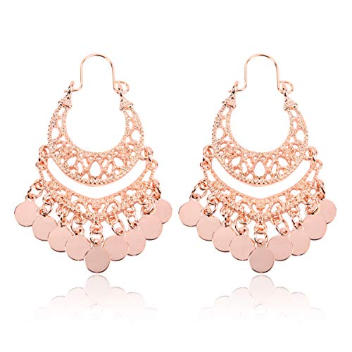 RIAH FASHION Bohemian Chandelier Coin Dangle Earrings - Gypsy Lightweight Filigree Disc Charm Tassel Ethnic Hoops (Mini - Rose Gold) ()
