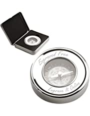 Personalised Chrome Compass and Case - Engraved - Enter Your Custom Text
