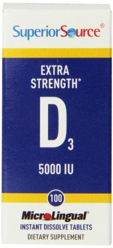 Superior Source Extra Strength Vitamin D3 5,000 IU Tablet, 100 (Extra Strength Tablet Vitamins)