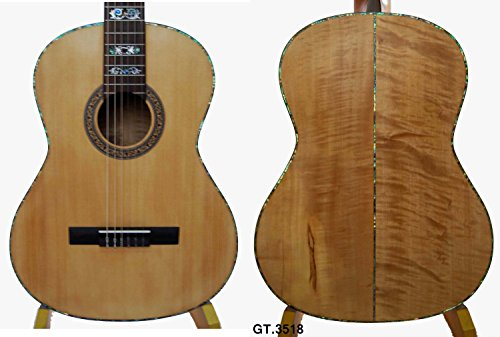Kaytro-Top Spruce Degree Solidwood Arch Maple Classic Nylon Strings Guitar 3518 7 String Arch Top