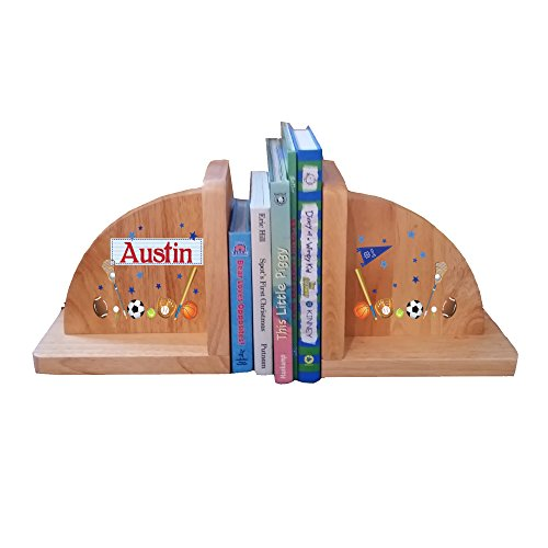Personalized Sports Natural Childrens Wooden Bookends by MyBambino