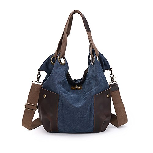 Women Fashion Canvas Casual Tote Bags Hobo Shoulder Bag Blue - 3