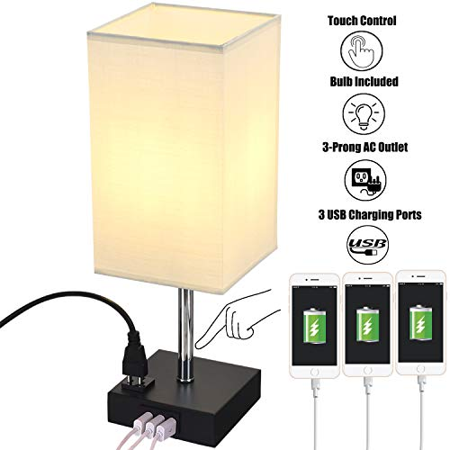 Briever Touch Control USB Table Lamp, 3-Way Dimmable Nightstand Lamp with AC Outlet and 3 Quick USB Charging Ports, Bedside Desk Lamp for Bedroom Living Room Office, 6W LED Bulb Included