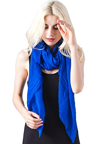 MissShorthair Lightweight Beautiful Solid Color Scarf for Women Shawl Wrap Soft Solid Scarf (Royal Blue) ()