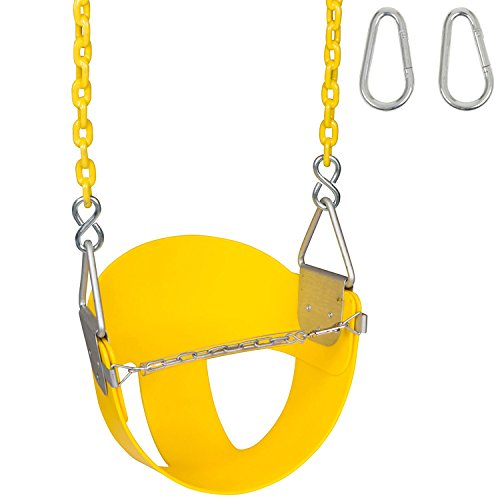 Swing Set Stuff Highback ½ Bucket (Yellow) with 8.5 Ft. Coated Chain and SSS Logo Sticker -